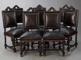 Set Of Eight French Louis Xiii Style Carved Walnut