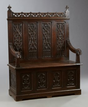 French Gothic Revival Carved Oak Hall Bench, 19th C.,