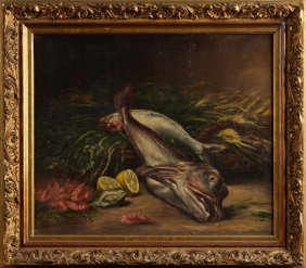 """French School, """"still Life Of Fish, Shrimp And Oysters"""