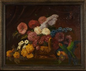 "Continental School, ""still Life Of Flowers And A Parrot"