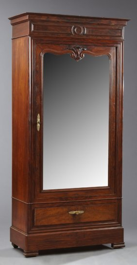 French Empire Style Carved Mahogany Armoire, Late 19th