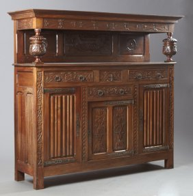 French Jacobean Style Carved Walnut Sideboard, 19th C.,