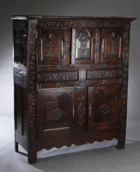 Large French Provincial Louis Xv Style Carved Oak Homme