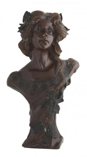 Patinated Bronze Art Nouveau Style Bust, 20th C., Of A