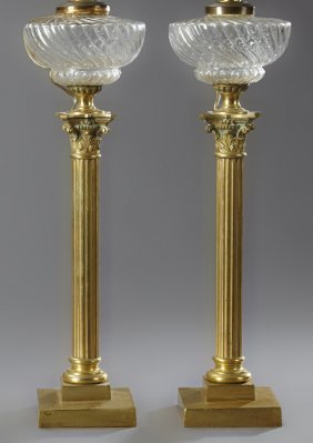 Pair Of French Gilt Bronze Oil Banquet Lamps, 19th C.,