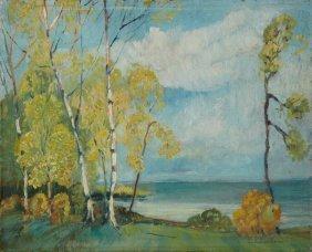 "E.e. Lundholm, ""birch Trees Along The Lake,"" Late 19th"