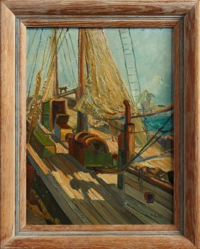 "H. Seitz, ""view Of The Deck,"" Early 20th C., Oil On"