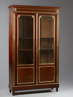French Louis Xvi Style Brass Mounted Mahogany Bookcase,