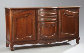 French Louis Xv Style Carved Cherry Bowfront Sideboard,