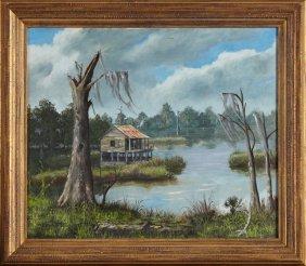 """Al Deforest (louisiana), """"swamp Scene With Cabin,"""" 20th"""