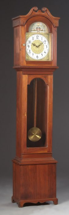 Contemporary American Carved Mahogany Tall Case