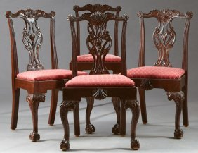 Set Of Four Chippendale Style Carved Mahogany Dining