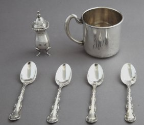 Six Pieces Of Silver, Consisting Of An .800 Silver Salt