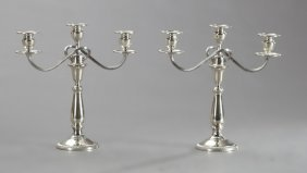 Pair Of Weighted Sterling Three Light Candelabra, Early