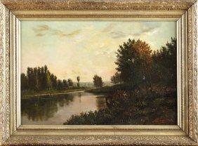 "M. Lejeune, ""lake Landscape At Sunset,"" 19th C., Oil On"