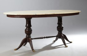 Regency Style Oval Carved Mahogany Marble Top Dining