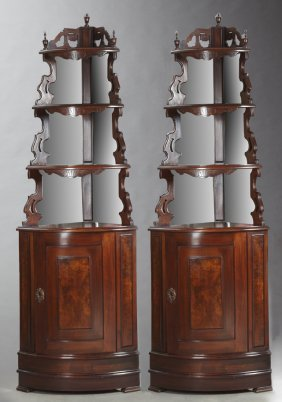 Pair Of English Style Carved Mahogany Mirrored Corner
