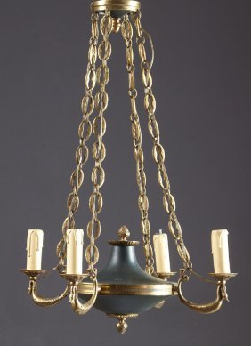 French Empire Style Green Patinated Iron Four Light
