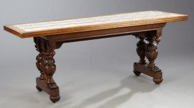 Continental Jacobean Style Carved Oak Tile Top