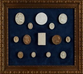 Group Of Fourteen Grand Tour Plaster Intaglios, 19th