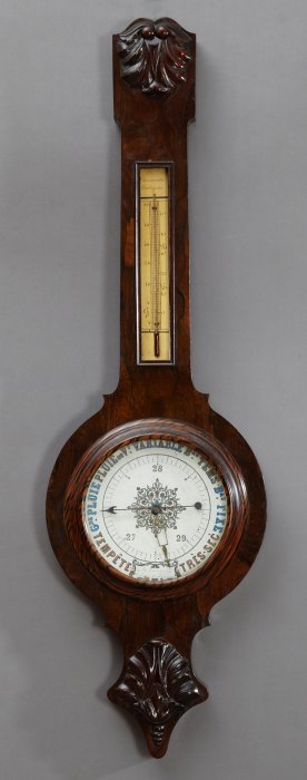 French Carved Walnut Faux Bois Barometer, 19th C., The