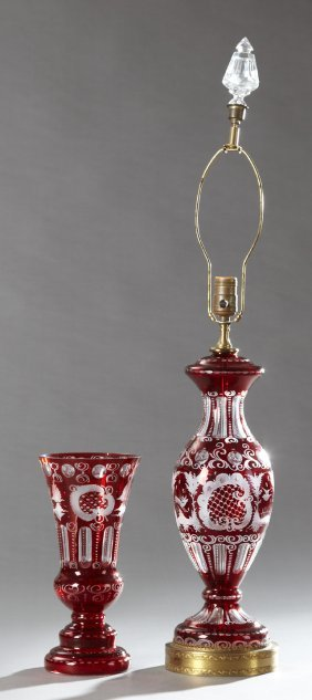 Two Pieces Of Bohemian Cut-to-clear Ruby Glass, 20th