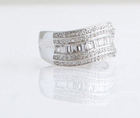 Lady's 14k White Gold Dinner Ring, The Swirled Top With