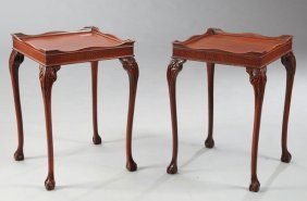 Pair Of George Iii-style Mahogany End Tables, Each With