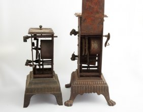 Two Rare French Cast Iron Wind-up Rotisseries, 19th C.,