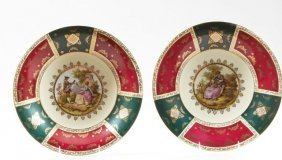 Pair Of Royal Vienna Style Porcelain Chargers,