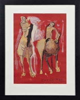 """Marino Marini (1901-1980), """"the Horsemen,"""" 1944, Print,"""