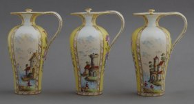Group Of Three Dresden Style Porcelain Cruets, Late
