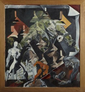 "Buist Hardison, ""abstract With Figures,"" 20th C., Oil"
