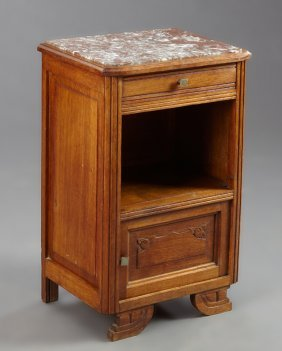 French Art Deco Carved Oak Marble Top Nightstand, Early