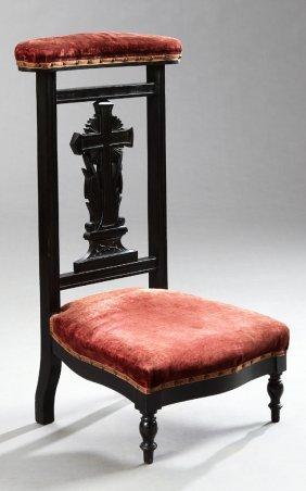 French Empire Style Ebonized Beech Prie Dieu, 19th C.,