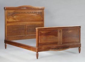 French Louis Xvi Style Carved Walnut Double Bed, Early