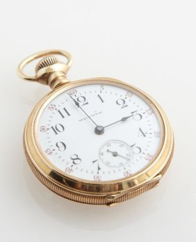 14k Yellow Gold Waltham Open Face Pocket Watch, 1902,