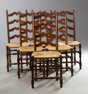 Set Of Six Spanish Colonial Style Carved Oak Ladderback