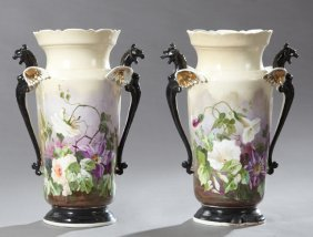 Pair Of Continental Polychromed Porcelain Vases, C.