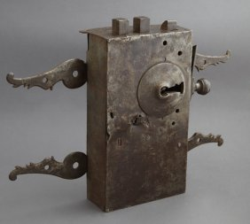 Rare French Wrought Iron Door Lock, 18th C., With Key,