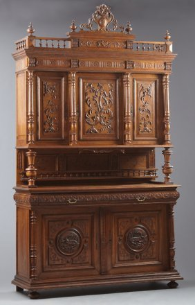 French Henri Ii Style Carved Oak Buffet A Deux Corps,