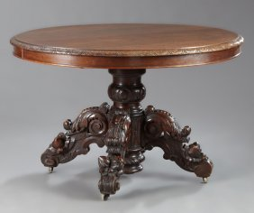 French Henri Ii Style Carved Oak Dining Table, 19th C.,