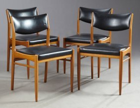 Set Of Four Danish Modern Style Carved Beech Dining