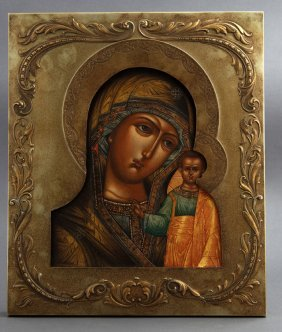 Russian Icon Of The Virgin Of Kazan, 19th C., With A