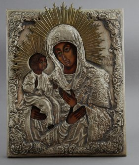Russian Icon Of The Virgin Of Kazan, Early 20th C.,