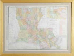 Colored Map Of Louisiana, 1911, By Rand Mcnally, From