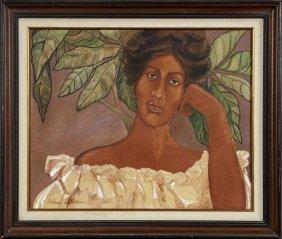 """Allen Akina (hawaii), """"hawaiian, Wahine,"""" 20th C., Oil"""