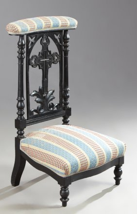 Late French Empire Style Ebonized Beech Prie Dieu, 19th