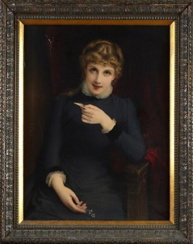 """American School, """"portrait Of A Young Woman With A"""