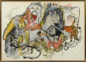 "Uri Lifchitz, ""untitled,"" 1966, Watercolor And Collage,"